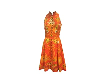 Vintage Geoffrey Beene Orange Cotton Piqué Mod Print Mini Dress 1960s