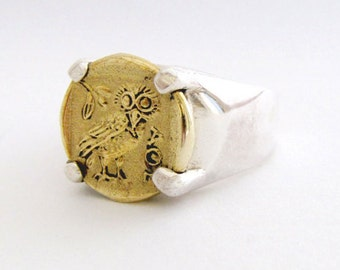 Ancient coin ring - Coin ring - Bronze coin ring - Sterling silver ring - Silver bronze ring - Coin rings - Ancient Greek - Coin jewerly