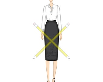 Corporate Shirt and Midi Length Pencil Skirt, Templates for Fashion Design