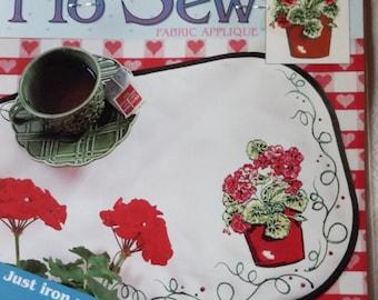Daisy Kingdom No Sew Fabric Applique – Potted Geranium #C113-1680-014