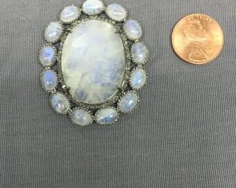 Natural Diamond and Moonstone Pendant