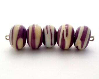 Grey Lampwork Bead set, Stripe Glass Bead Set
