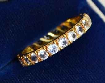 1966 Vintage 18ct Yellow GOLD & Sparkly WHITE SPINEL Full Eternity Ring - Sz P (Us 7.75)