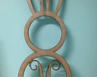 Laser Cut Unpainted Circle Easter Bunny- Can customize to  any letter