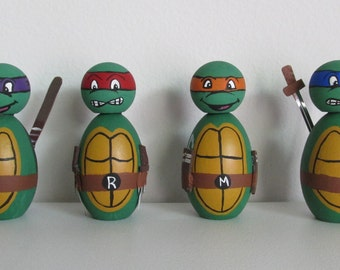 Hand-Painted Wooden Miniature Figurine Shelf-sitters - Teenage Mutant Ninja Turtles, set of 4