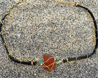Amber Sea Glass Choker