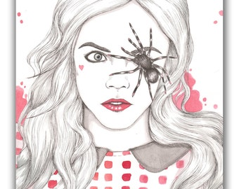 Cara Delevingne Spider Eye Fashion Illustration A6 Postcard Illustrated Print