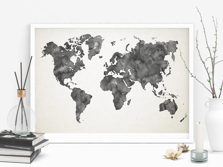 carte du monde aquarelle gris imprimable affiche carte monde. Black Bedroom Furniture Sets. Home Design Ideas