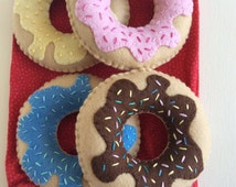 Hand sewn felt donuts for pretend play