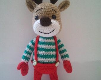 Christmas deer, Deer Plush, Deer Stuffed Animal, Crochet Deer, Christmas deer plush toy, deer amigurumi, cute deer toy, amigurumi animals