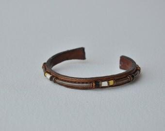 Vintage leather and metal ethnic boho bracelet