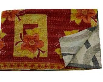 Ethnic Traditional Home Decor Kantha Quilt, Twin Reversible Kantha Bedspread, Floral Kantha Gudri