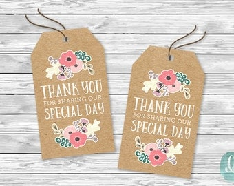 DIY Printable Tags -  Thank You Sharing Special Day Floral Kraft Rustic Engagement Bridal Shower Birthday Baby Party Invitation Tags Wedding