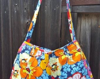 Summer Floral Print Drawstring Reversible Handbag
