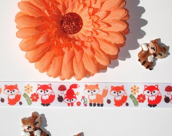 Inspiration Embellishment Kit Daisy Silk Flower Grosgrain Ribbon Fox Resin Flatbacks Hair Bows Hats Home Decor Scrapbooking