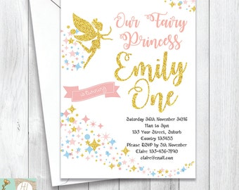Twinkle Stars Fairy Princess Birthday Invitation, Pink and Gold Glitter, Sparkly Card, Girls' Birthday Invitation, Printable Card, Ecard