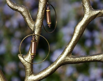 Copper Tubes on Antiqued Bronze Hoops