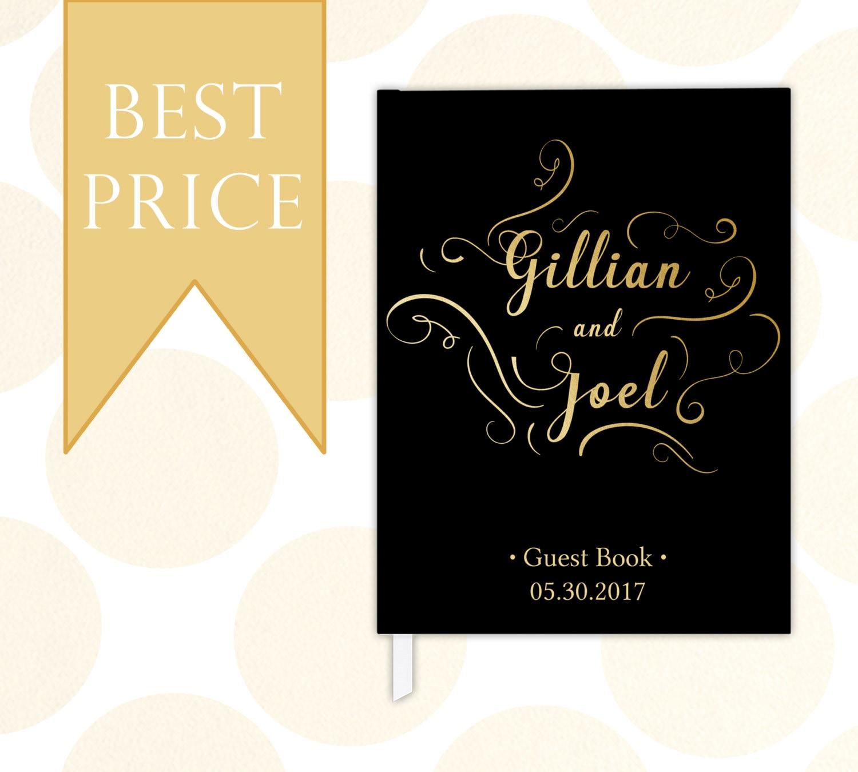 Custom Modern Calligraphy Black Wedding Guest Book