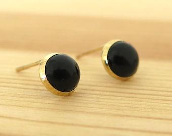 Onyx Earrings - 14K Gold Onyx Stud Earrings - Gold Studs - Black Onyx Earrings - Gift for Her - Black Gold Studs - Onyx Jewelry - 14k Studs