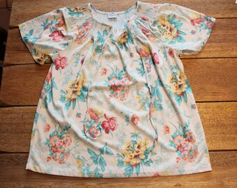 Vintage Hawaiian Print Shirt Peasant Blouse, Size Medium, Top Shirt Haband!