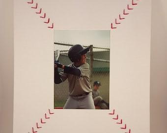 """Baseball Picture Frame Mats - """"Bases Loaded"""" - Baseball Coach Gift Idea - Unique Baseball Framing Wall Decor"""