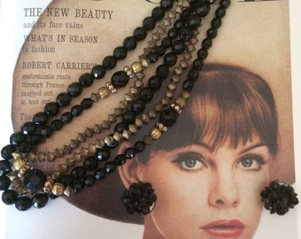 Vintage 1950's black bead faceted and brass 3 strand necklace with cluster earrings