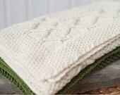 White blanket: wool, handknit, creamy white color, ~25x33'' - Handknitted blanket for baby - Girl blanket - Boy blanket