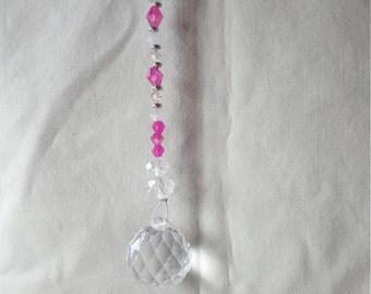 Pink Swarovski Crystal Sun Catcher with Strss Ball