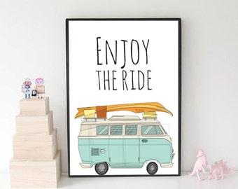 Hippie Decor, Surf Van, Hippie Print, Hippie Poster, Van Poster, Van Print, Wall Art, Wall Decor, Modern Decor, Printable Wall Art, Artwork