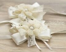 2 Wrist Flower Corsages, Lace Ribbon Wedding Corsage, Bridesmaids Bracelet, Mother of Bride Fabric Flower Corsage, Bridal Off-White Corsage