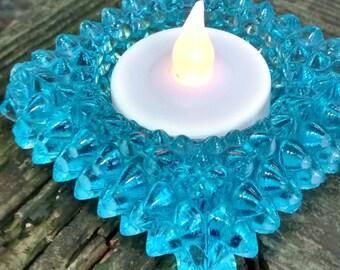 Vintage fenton blue hobnail candle holder/ vintage salt cellar / blue hobnail