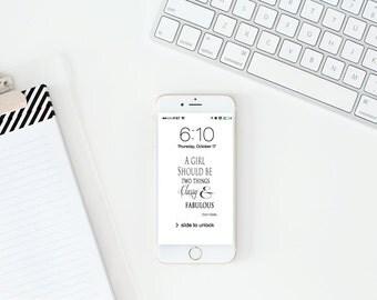 IPhone 6 Wallpaper / Dress Your Tech Wallpaper / Custom Wallpaper / Iphone 6s / Cell Phone Wallpaper / Classy & Fabulous Chanel Quote