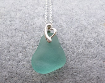 Turquoise Blue Sea Glass Necklace