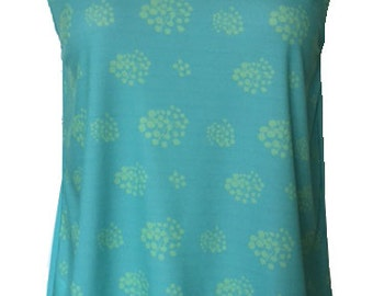Bodice sleeveless two quilts. Cross and open back. front print green tone