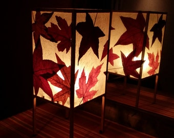 Table lamp or accent lamp, handmade with pressed and dried fall leaves