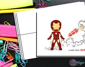 Iron Man comic book Thank You Cards / comic book stationery / Superhero Stationery Set / personalized Boy thank you cards / Set of 12