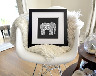 "Elephant Inverted Freehand Ink Drawing Limited Edition Print, Signed, Numbered 8"" x 8"""