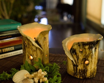 Ceramic Tea-light Candle Holder Set - Rustic with Free Candles