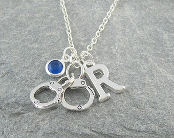 Handcuffs necklace, personalized jewelry, initial necklace, swarovski birthstone, silver chain, police officer gift, police wife gift