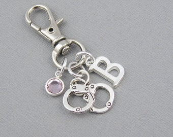 Personalized handcuffs purse charm, zipper charm, silver initial, crystal birthstone, bag charm, police officer gift, gift for her, clip