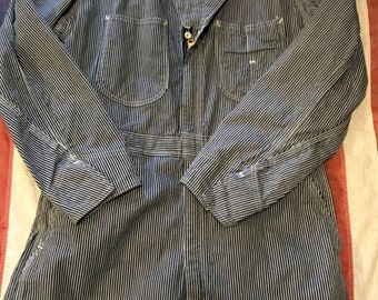 Vintage 50s Lee Union-Alls coveralls hickory stripe engineer