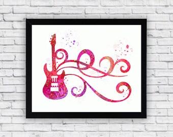 Guitar Watercolor printable, Guitar Printable Wall Art, Guitar wall decor, Guitar poster