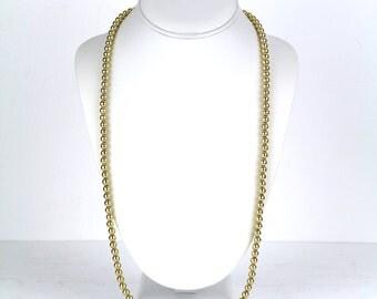 "S A L E 25% OFF *** Vintage NAPIER Gold Tone Bead Single Strand Necklace 30"" Long"