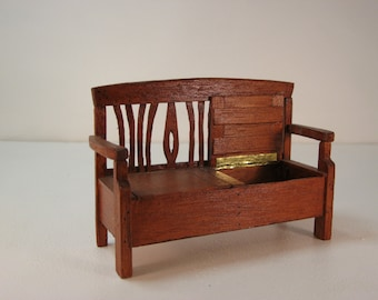 Dolls house 1/12th scale Scandinavian style storage bench