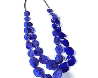 "Aquamadre collection necklace ""Alcantara"" blue version"