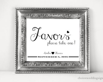 Wedding Favors Sign Printable In PDF + JPG (4x6, 5x7, 8x10, 11x14, 16x20, 18x24, 24x36, A5, A4, A3, A2, A1, A0, Custom) CWS307_1222C