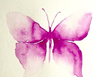 Original butterfly watercolour painting, vintage watercolour, butterfly art, purple butterfly, home decor, simple watercolor, abstract art
