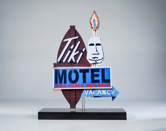Tiki Motel neon sign photo / tiki art / motel sign / neon sign / retro motel sign / retro / mid century art / route 66 photo / roadside art