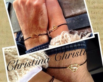 "Couples Bracelets, Gold Superman For Hand, Superhero Jewelry, Gold Or Silver ""S"" With Black Cord. Lovers Gift."