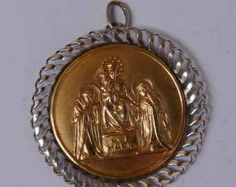 Antique religious pendant in 900 Silver and 18 k gold representation of sacred Family Ave Maria medal former Holy family religious